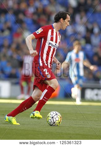 BARCELONA - APRIL, 9: Diego Godin of Atletico Madrid during a Spanish League match against RCD Espanyol at the Power8 stadium on April 9, 2016 in Barcelona, Spain