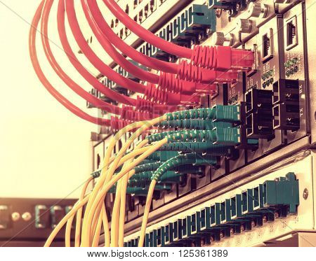 network cables installed in the rack