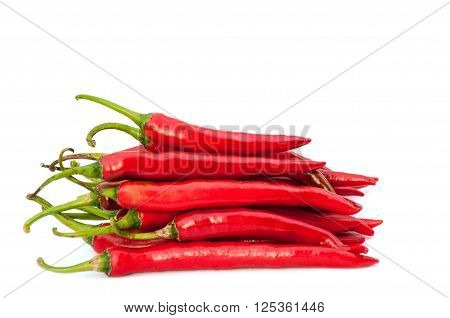 Hot red chili peppers isolated on white background
