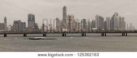 PANAMA - MARCH 23: Panama City Skyline, seen from Casco Viejo, March 23, 2016 in Panama