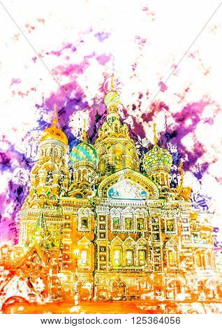 Church on Spilled Blood in Saint Petersburg, Russia. One of the most beautiful churches in Russia is among main tourist attractions of Saint-Petersburg. Modern painting, background illustration.
