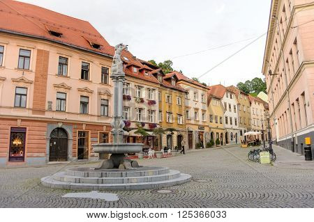 LJUBLJANA SLOVENIA - JULY 9 2009: Hercules fountain where Stari square and Gornji squares meet at the old town