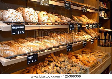 fresh bread and pastries in the salesroom ** Note: Visible grain at 100%, best at smaller sizes