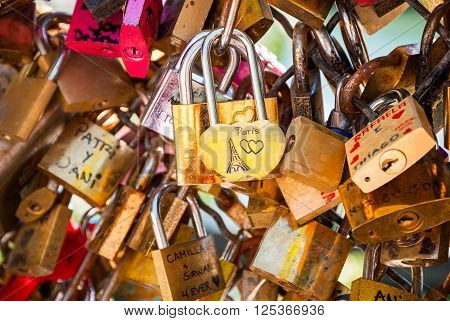 Love Padlocks On Parisian Bridge