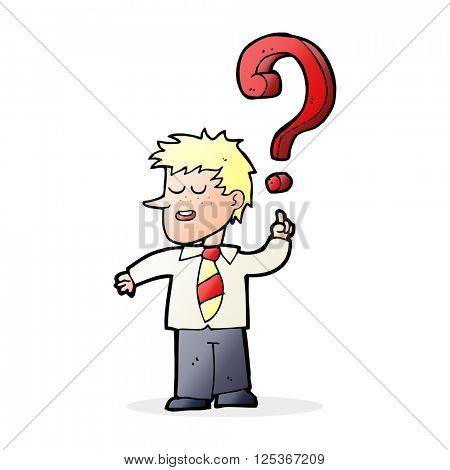 cartoon school boy asking question