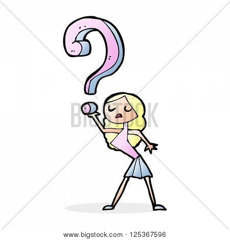 cartoon girl asking a question