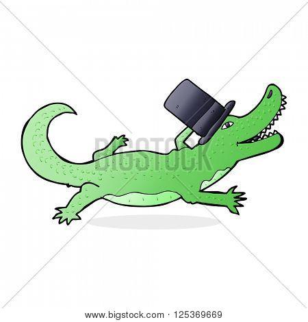 cartoon crocodile in top hat