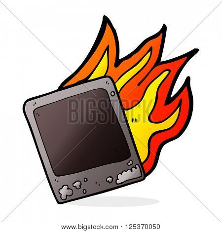 cartoon old instant photograph burning
