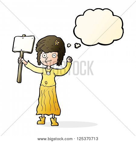 cartoon hippie girl with protest sign with thought bubble