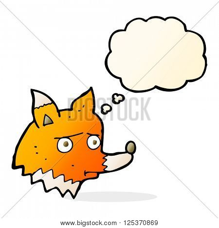 cartoon unhappy fox with thought bubble