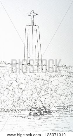 Ink line drawing of the Cacilhas Ferry and the monument of Cristo Rei Lisbon Portugal.