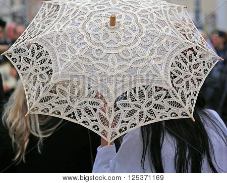 Umbrella All Hand-decorated With Lace Doilies