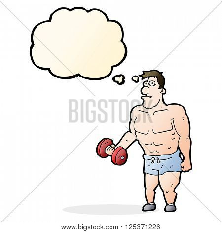 cartoon man lifting weights with thought bubble