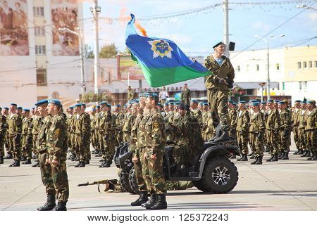 Vitebsk, Belarus - August 2, 2015: Belarus army soldiers during the celebration of the Paratroopers VDV Day on August 2, 2015 in Vitebsk