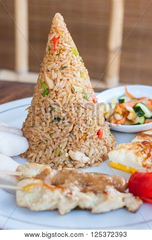 Nasi goreng with pyramid of rice, Bali