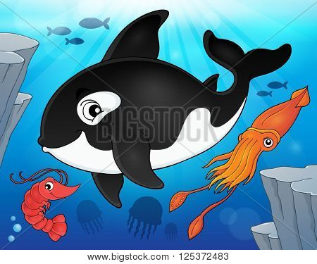 Ocean fauna topic image 9 - eps10 vector illustration.