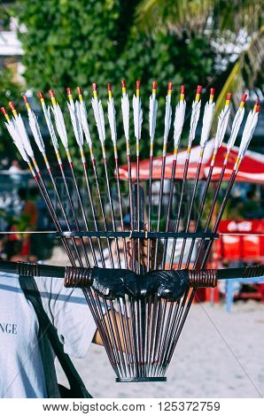 Bow and Arrows sold in a beach Kuta Bali Indonesia