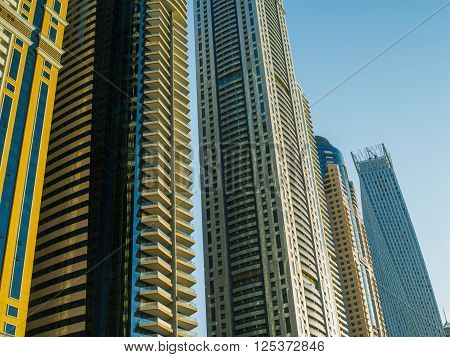 Detail of contemporary skyscrapers in Dubai, UAE