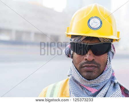 DEC 3 -DUBAI UAE: portraits of foreing workers on the third december 2013 in DubaiUAE.Dubai has approximately 250000 laborers mostly South Asian working on real estate often underpaid and in poor conditions like modern slaves.