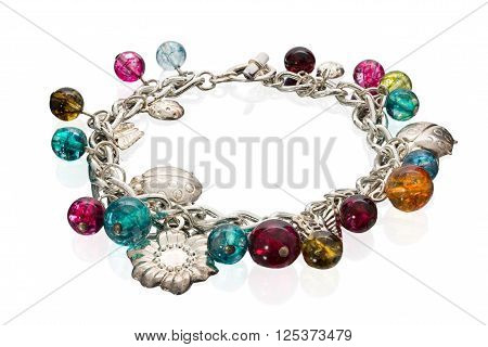 Cute Bracelet Made Of Glass And Metal Beads