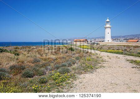 Beautiful historic Retro Lighthouse at Paphos, Cyprus