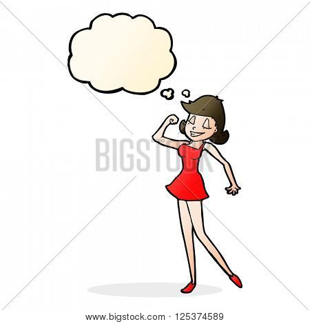 cartoon woman with can do attitude with thought bubble