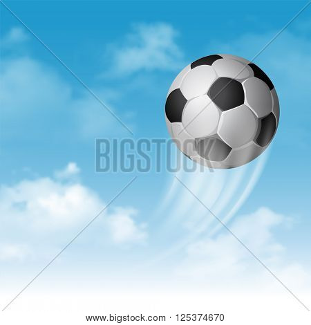Soccer Ball Flying on Cloudy Sky Background. Realistic Vector Illustration.