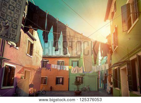 Beautiful  view Burano island. Venice, Italy.