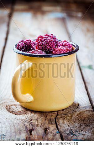 Frozen Blackberries In A Mug