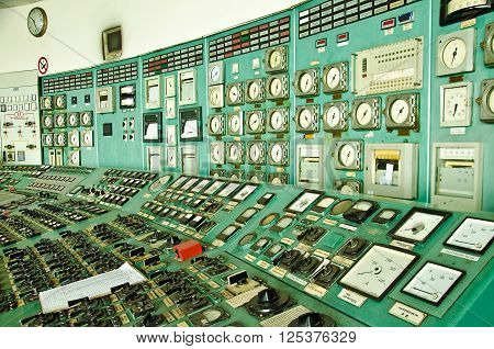VARNA, BULGARIA, VARNA HEAT POWER PLANT, APRIL 12 2016: The Control center of a Power plant Varna, Bulgaria. The plant is decommissioned in March 2015. Most equipment is manufactured in USSR