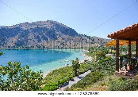 Picturesque Lake Kournas in the Island Crete (Greece)