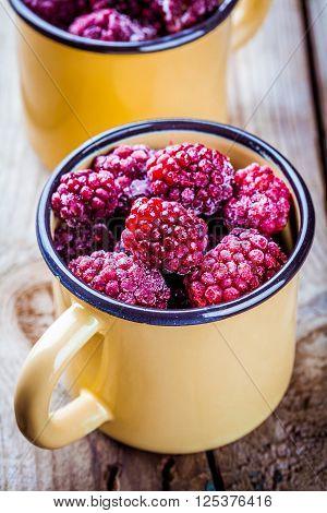 Frozen Blackberries In A Mugs