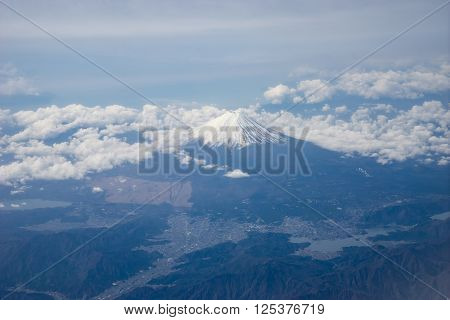 Aerial view of Mt. Fuji in Shizuoka, Japan.