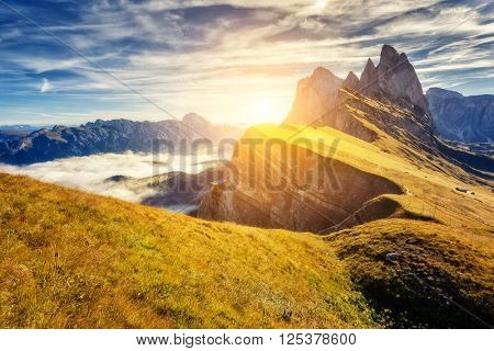 Great view on the  Puez Odle - Geisler group. National Park valley Gardena. Dolomites, South Tyrol. Location place Ortisei, S. Cristina and Selva Gardena, Italy, Europe. Dramatic scene. Beauty world
