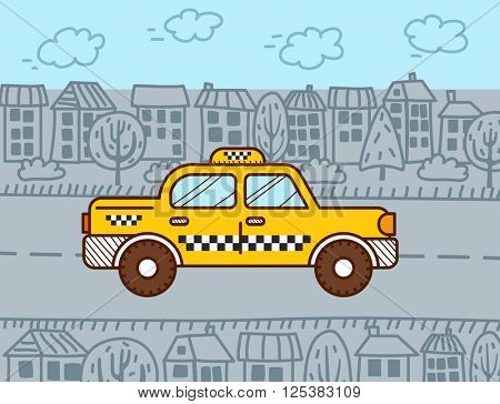 Taxi cab in the city. Vector illustration