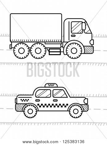 Cars and vehicles coloring book for kids. Dump Truck, taxi cab