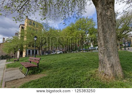 LYON FRANCE April 8 2016 : La Croix-Rousse district. Due to silk industry history district is nicknamed