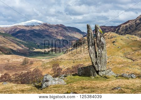 Fionn's Rock or The Praying hands of Mary in Glen Lyon Scotland