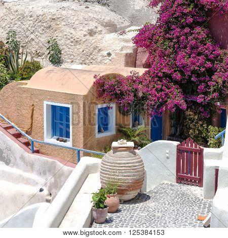 Traditional stone hamlet of Oia on the greek island of Santorini