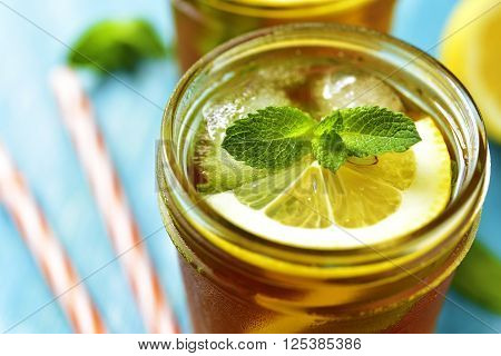 Iced Lemon Tea In A Mason Jar.