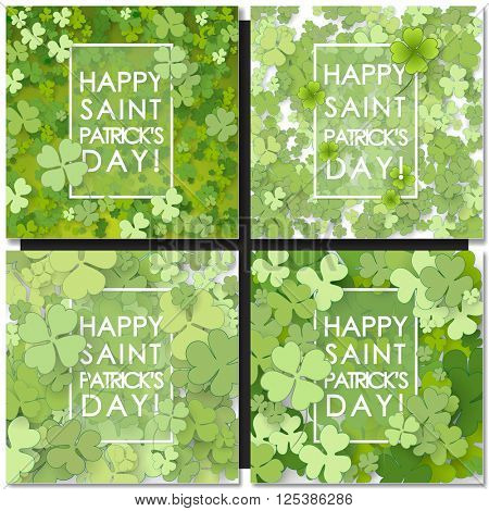 Set of St Patrick Day backgrounds. Vector illustration for lucky spring design with shamrock. Green clover with white border isolated on green background. Ireland symbol pattern