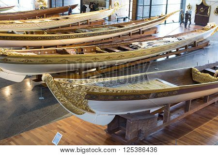 ISTANBUL, TURKEY - 3 APRIL, 2016:Maritime Museum in Istanbul stabbing ancient boats Turkish sultans