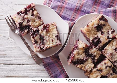 Berry Buckle Close Up On A Plate. Horizontal Top View
