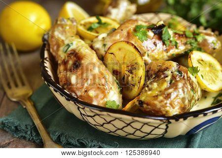 Chicken Legs Stewed In A Cream Lemon Sauce.