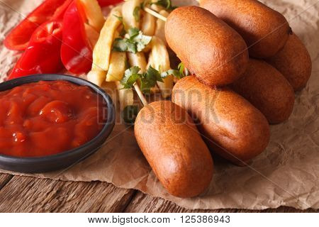 American Fast Food: Corn Dogs, French Fries And Ketchup Close-up. Horizontal