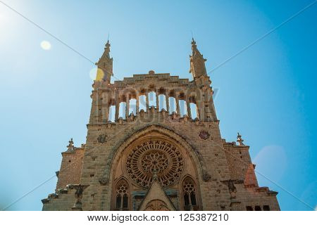 The church of Sant Bartomeu, Saint Bartholomew, in Soller, Majorca, Spain. Beautiful gothic cathedral in Spain.