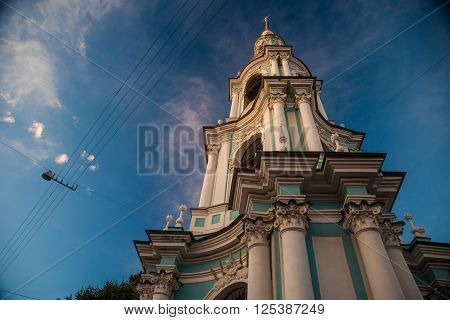 Saint Nicholas' Cathedral, Nikolsky sobor, popularly known as the Sailors' Chruch in Saint Petersburg, Russia at twilight time.