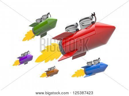 Robots flying on the rocket. Challenge metaphor. 3d illustration