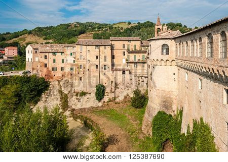 Houses in Urbania a small village in the italian region of Marche; the