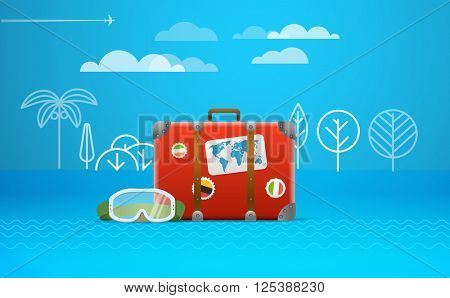 Travel bag vector illustration. Vacation concept